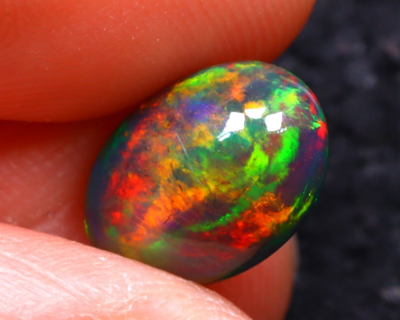 Welo Opal 1.80Ct Natural Ethiopian Smoked Play of Color Opal E0932/A3