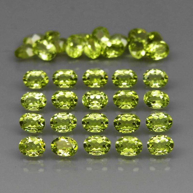 35Pcs/6.85Ct.4x3 mm.Ravishing Color! Natural Apple Green Peridot Pakistan