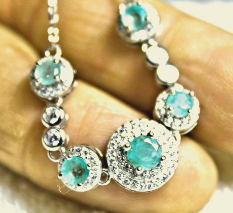 30.14 Carat Emerald, White Gold Plated Bracelet - Gorgeous