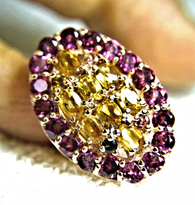 70.7 Tcw. 14K Rose Gold Plated Garnet, Citrine Ring - Size 8