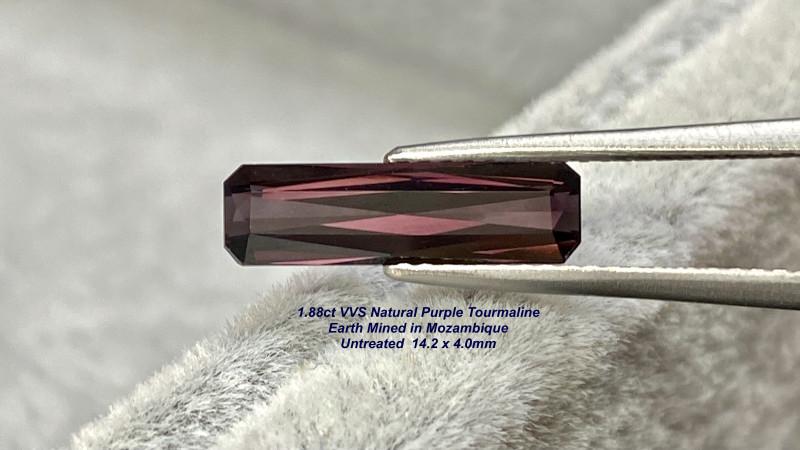 1.88ct VVS Purple Tourmaline - Scissor Cut / Unheated / 14.2 x 4.0 x 3.3 mm