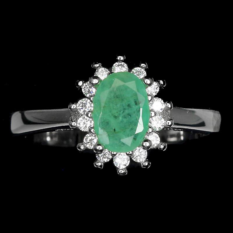 16.15 Tcw. Natural Brazilian Emerald, CZ 14K White Gold Plated