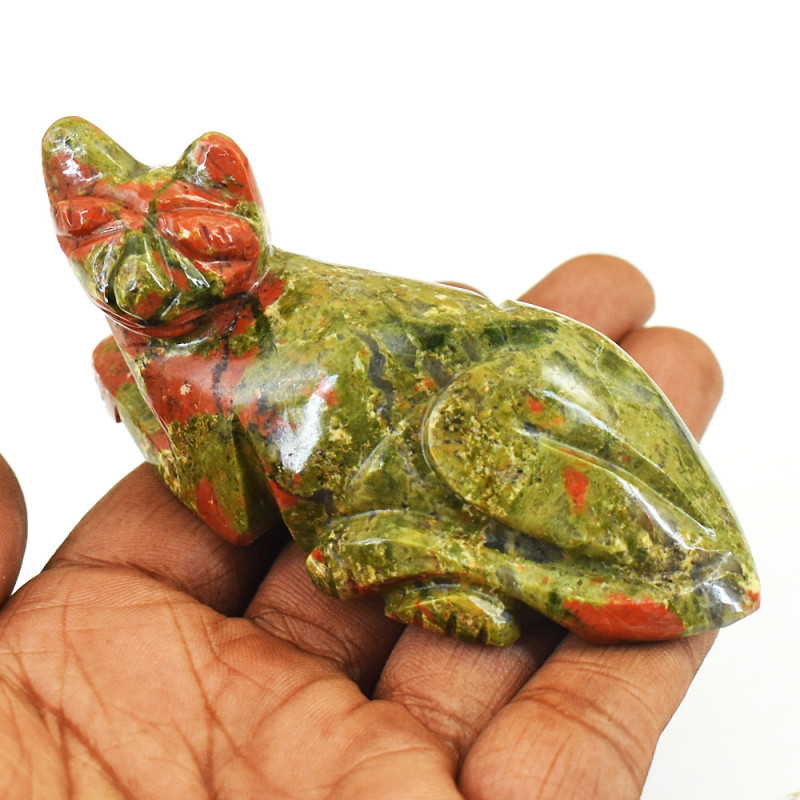 Genuine 575.00  Cts Blood Green Unakaite Carved Cat