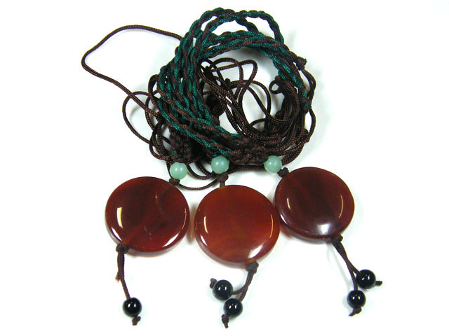 THREE TRIBAL AGATE NECKLACE   TR 676