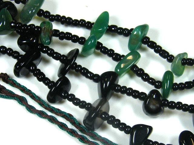 THREE TRIBAL AGATE NECKLACE S  TR 681