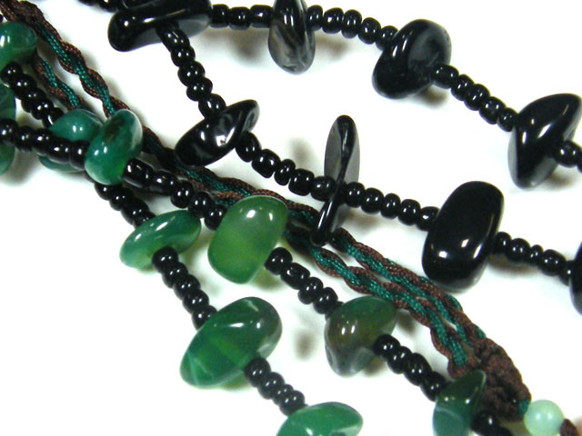 THREE TRIBAL AGATE NECKLACE S  TR 685