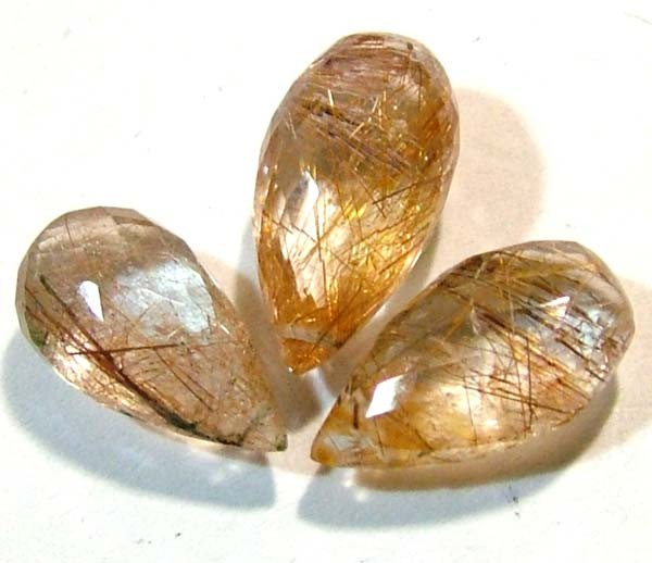 RUTILATED QUARTZ BRIOLETTE (3PCS) 13.50 CTS CG-827