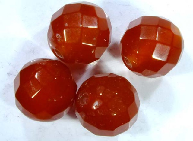 CARNELIAN FACETED BEADS (4PCS) 10.35 CTS  NP-1080