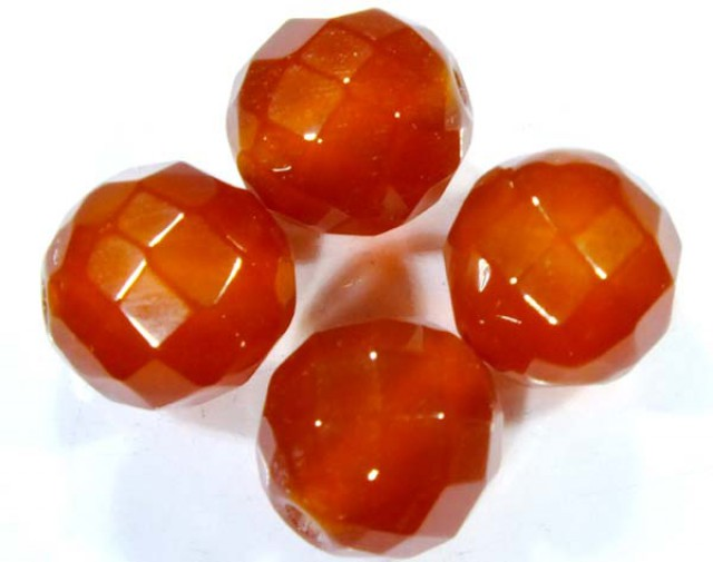 CARNELIAN FACETED BEADS (4 PCS) 10.5 CTS  NP-1097