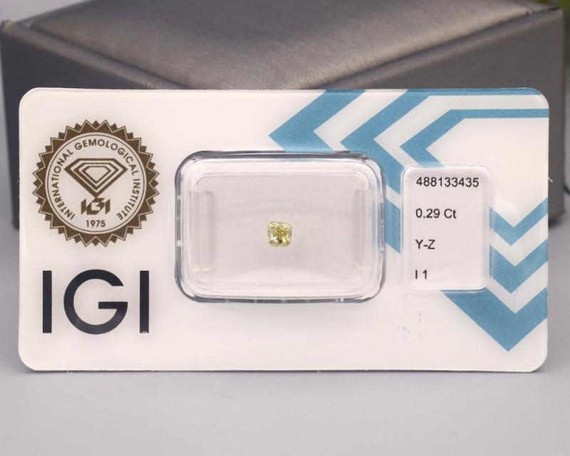 IGI Certified 0.29Ct Natural Y-Z Light Greyish Yellow I1 Diamond B2110