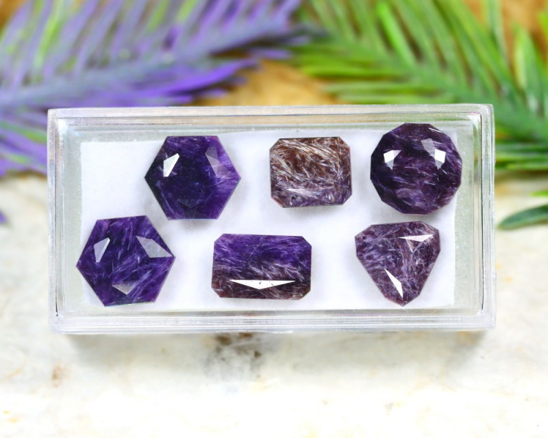 Charoite 21.28Ct 6Pcs Natural Violet Color Russian Charoite B2433