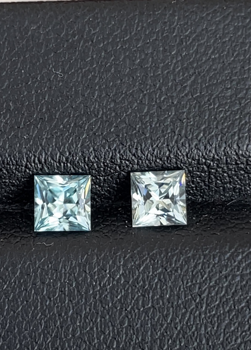 1.3tcw Natural blue zircon matched pair