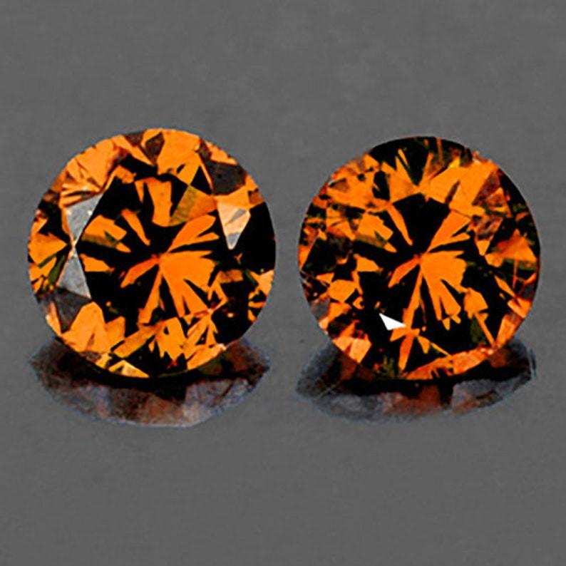 5.50 mm Round 2 pcs 2.02cts Golden Orange Zircon [VVS]