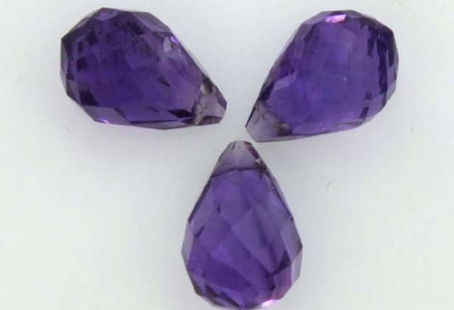 AMETHYST FACETED  STONE (3PC) 3.8 CTS CG-1094