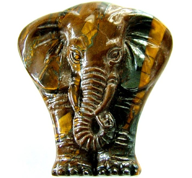 TIGER EYE ELEPHANT CARVING 83.05 CTS  [MX 6301]