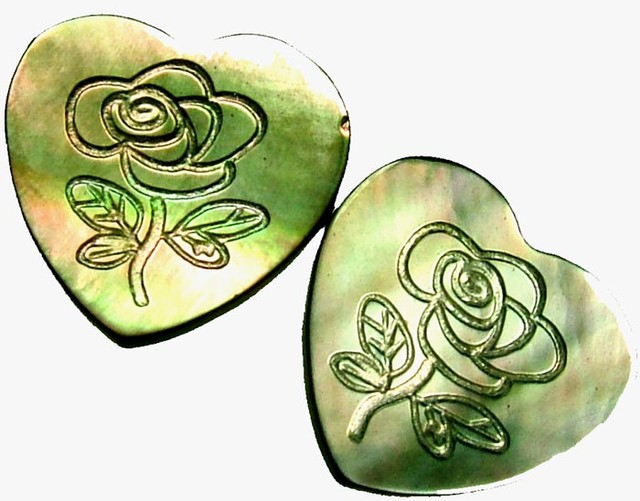 PAIR MOTHER OF PEARL CARVED HEARTS - 4.85 CTS [PF 1249]