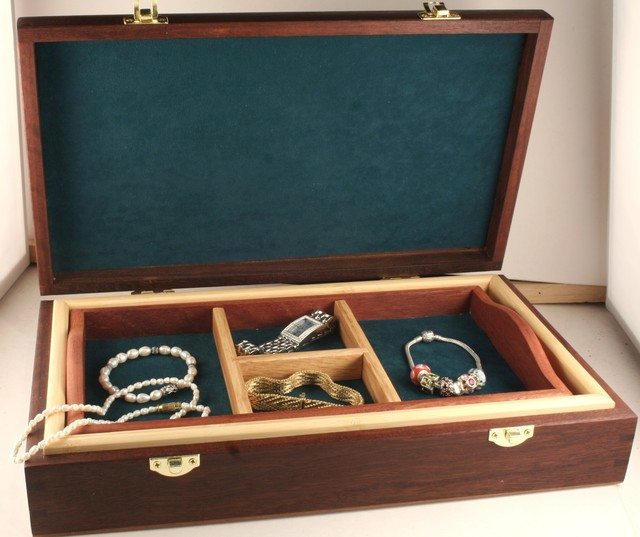 Hand made Natural Jarrah Jewelry Box  with lift out Tray