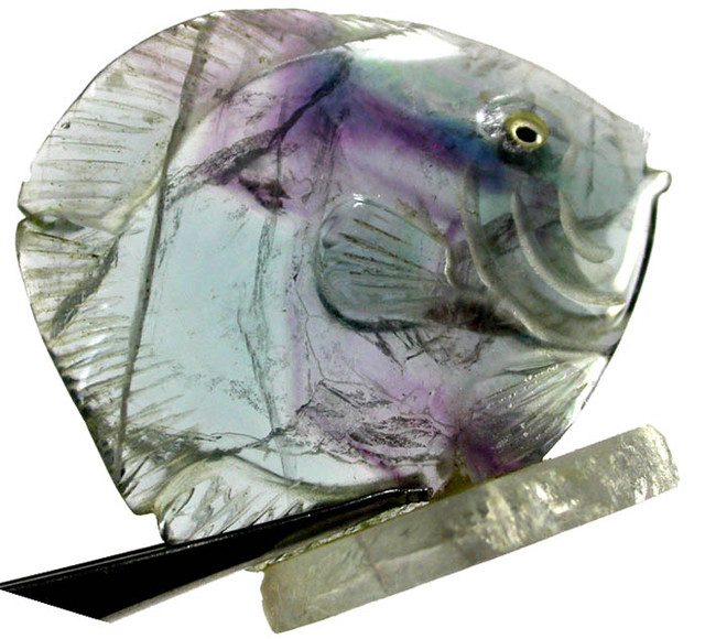 COLOURFUL FLUORITE FISH CARVING  105.05 CTS[MX7188 ]