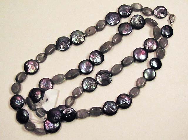 NECKLACE PEARLS WITH RAINBOW STONE BEADS  LK0645