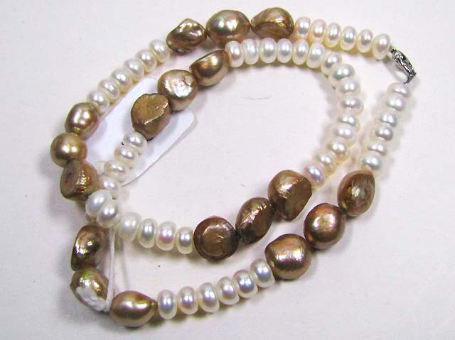 NECKLACE FRESHWATER PEARLS/GOLDEN BROWN PEARLS LK0644