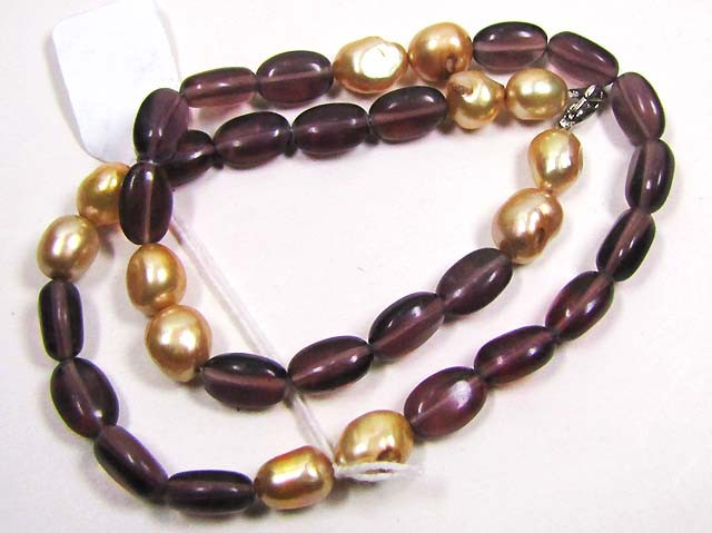 NECKLACE VIOLET COLOR QUARTS BEAD/CHAMPAGNE  PEARLS LK0648