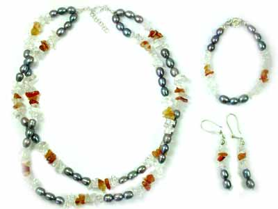 QUARTZ CRYSTAL AND CARNELIAN WITH SOUTH SEA PEARLS GEMSTONE BEADS 4PC SET G