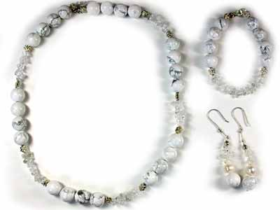 WHITE HOWLITE AND QUARTZ CRYSTAL WITH SOUTH SEA PEARLS GEMSTONE BEADS 4PC S