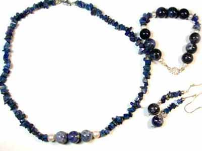 SODALITE AND LAPIS WITH SOUTH SEA PEARLS GEMSTONE BEADS 4PC SET G452