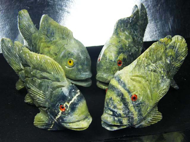 FOUR  LARGE PERU FISH  CARVING          AAT 1636