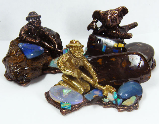 RESELLERS THREE OPAL MINER STATUES GRR 466