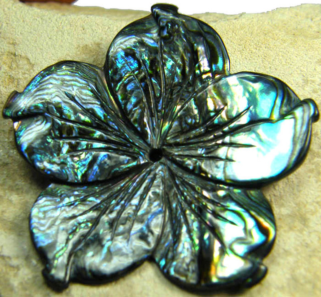 AUSTRALIAN ABALONE FLOWER CARVING 23.15 CTS [PF1603]