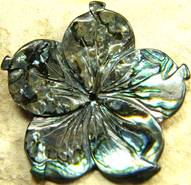 AUSTRALIAN ABALONE FLOWER CARVING 21.40 CTS [PF1604]