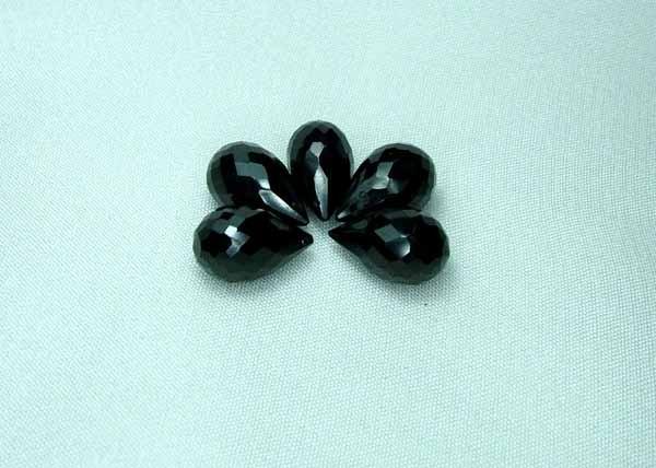 Natural Black Spinel Faceted Briolettes A298