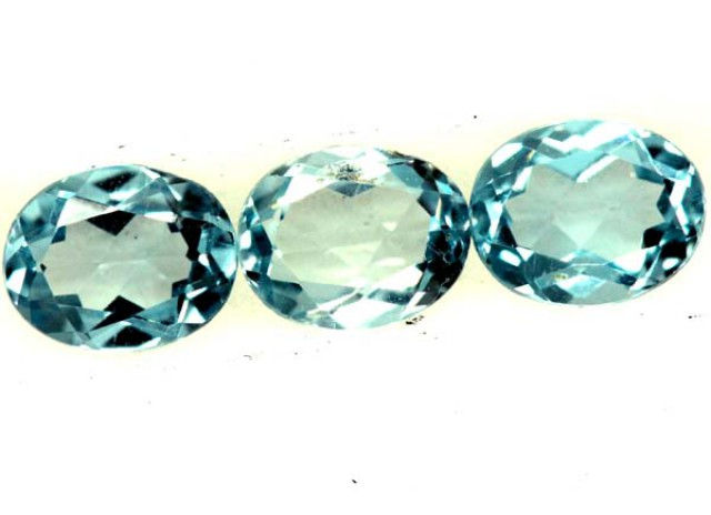 BLUE TOPAZ NATURAL FACETED ( 3 PCS) 1.20CTS PG-1344