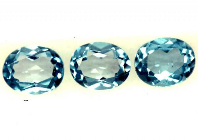 BLUE TOPAZ NATURAL FACETED ( 3 PCS) 1.15 CTS  PG-1331