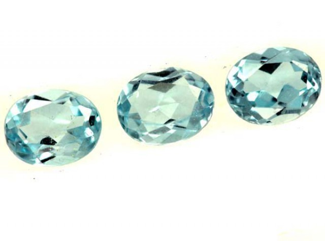 BLUE TOPAZ NATURAL FACETED ( 3 PCS) 1.25CTS  PG-1380