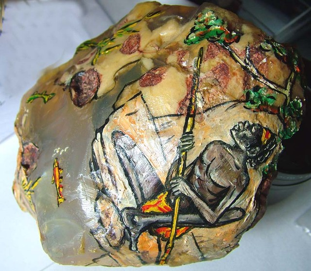 LARGE PAINTED OPAL SPECIMEN RARE COLLECTOR PC  3050 CTS