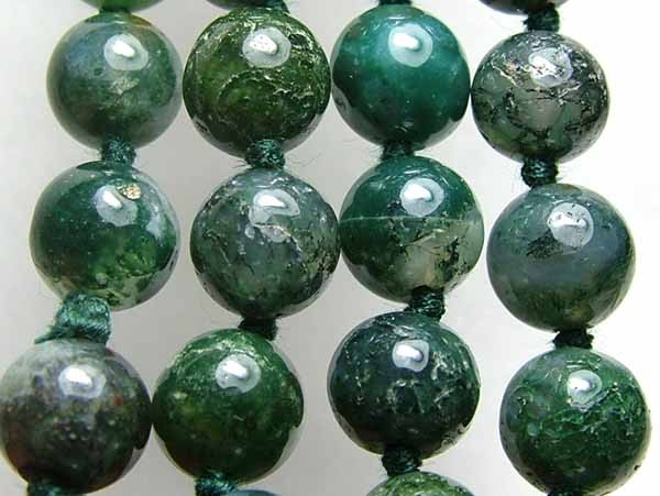 100% Natural African Moss Agate Beads B611