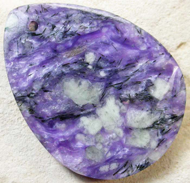 LARGE DRILLED FACETED CHAROITE STONE-RUSSIA 59.60 CTS MX7885