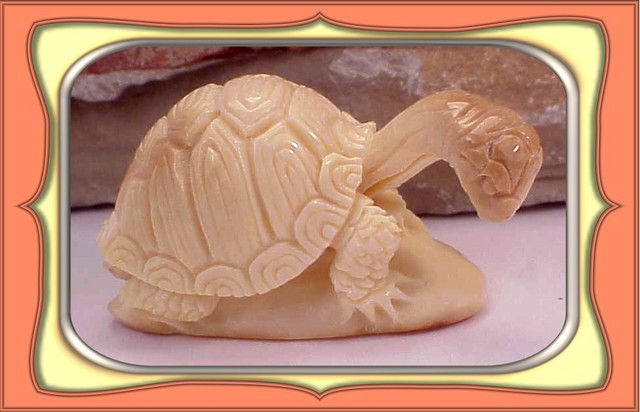 CARVING - HANDCARVED WOOLLY MAMMOTH TURTLE CARVING