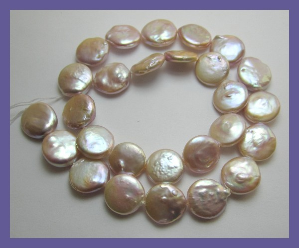 QUALITY MAUVE13-14.00MM FRESHWATER OIN PEARLS-FABULOUS LUSTRE!!