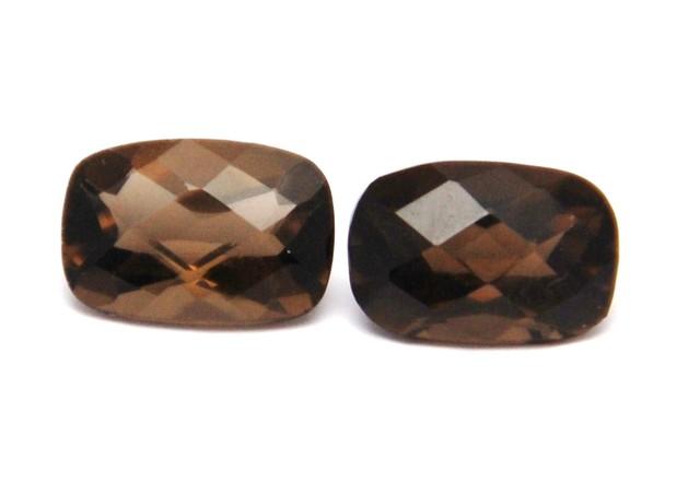 Pair of cushion cut Smokey quartz gemstones 7.4ct