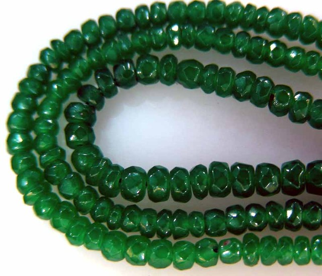 FACETED GREEN JADE GRADED BEADS STRING 43.00 CTS  90642