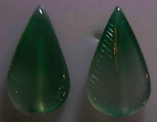 NATURAL GREEN ONYX CARVINGS 18.65 CTS 90086