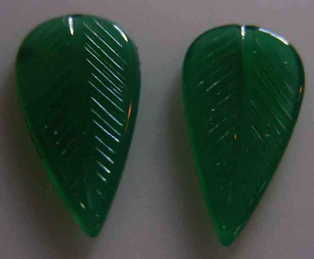 NATURAL GREEN ONYX CARVINGS 10.90 CTS 90087