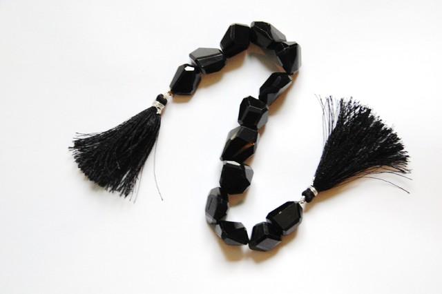 Large Superb AAA Irregular cut Black Spinel beads 337.5ct