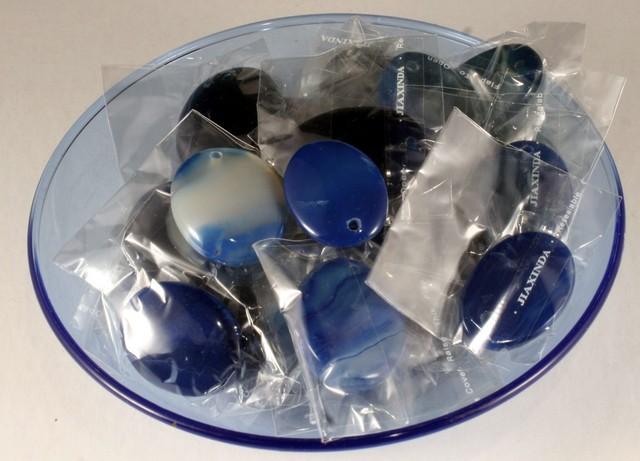 Bulk lot of 25 Pc Blue Onyx oval Pendant 250 gram
