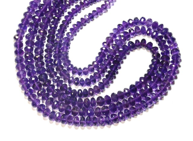 "8"" line 6.5 to 7mm AA Amethyst faceted beads am012"