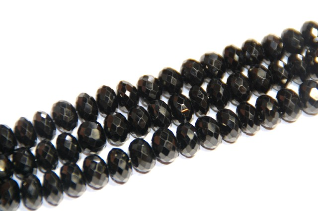 "AAA Grade Black Spinel Faceted beads 10"" 8 by 5mm"