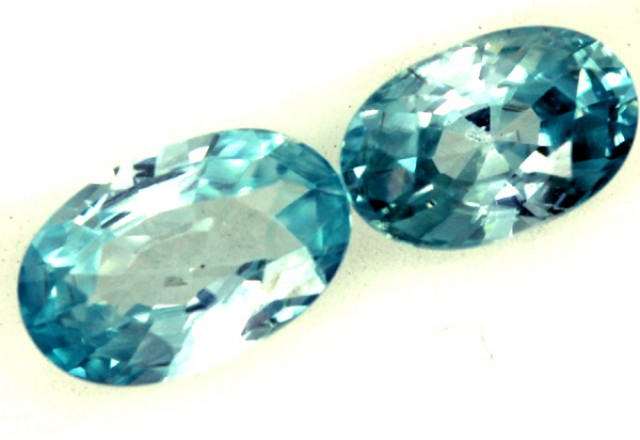 BLUE ZIRCON FACETED STONE 2 PCS 1.70 CTS  PG-1258